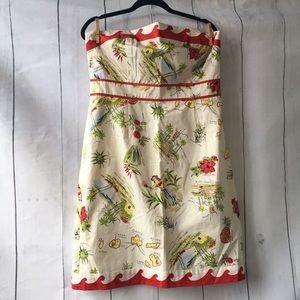 J. Crew Hawaiian Hula Strapless Dress Size 14